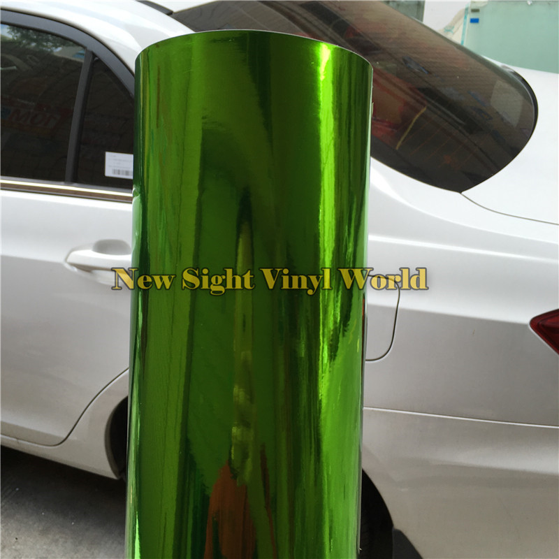 Best Quality Chrome Green Vinyl Wrap Chrome Mirror Green Vinyl Foil Film Bubble Free For Car Styling Size:1.52*20M/Roll nitro triple chrome plated abs mirror 4 door handle cover combo