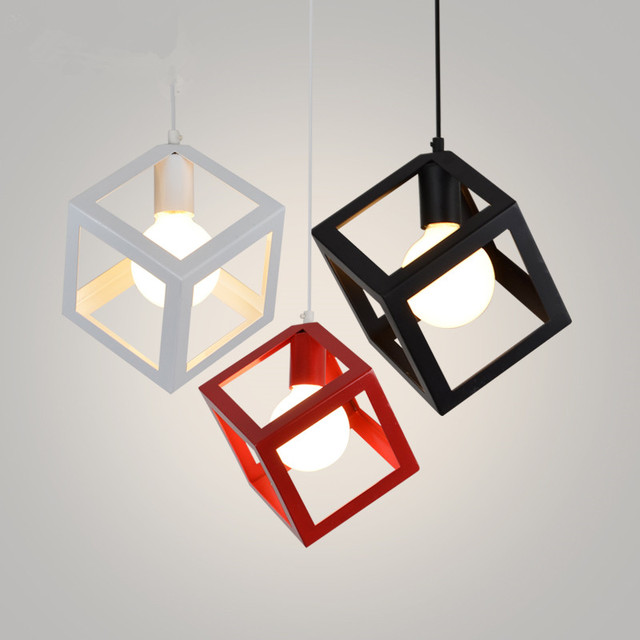 Modern Pendant Lights Art Deco Colorful Cube Pendant Lamp Iron Cage Lamp  Shade Hanging Lamp Home