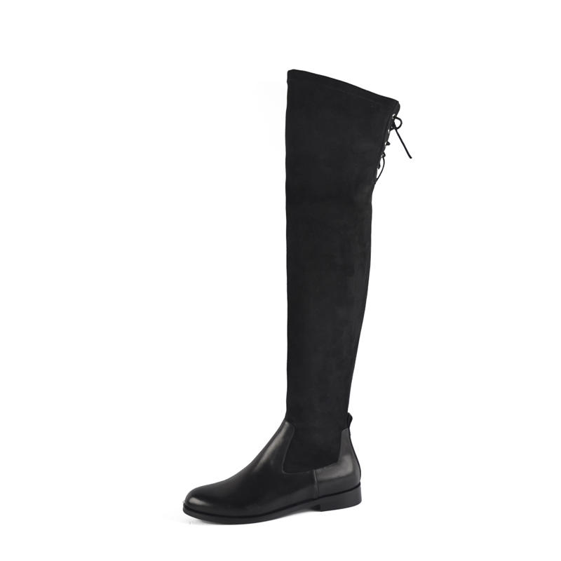 Donna-in elastic microfiber thight high boots above knee calf leather women shoes leggy long booties round toe flat ladies boots