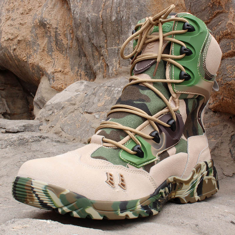 цены Military Camouflage Boots Desert Tactical Hiking Shoes Non- slip Breathable Boots Outdoor Climbing Camping Sneakers