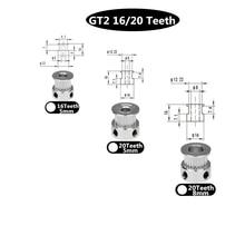Запчасти для 3D принтера, аксессуар GT2, 20 зубьев, 20 зубьев, диаметр 5 мм/8 мм, шкив из алюминия, пригодный для GT2-6mm, открытый ремень ГРМ