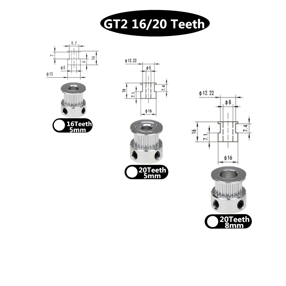 3D Printer Parts Accessory GT2 20Teeth 20 Teeth Bore 5mm/8mm Timing Alumium Pulley Fit For GT2-6mm Open Timing Belt