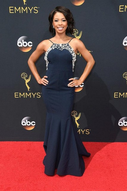 Beaded Collar Backless Emmy Awards Celebrity Dresses 2016 Angel ...