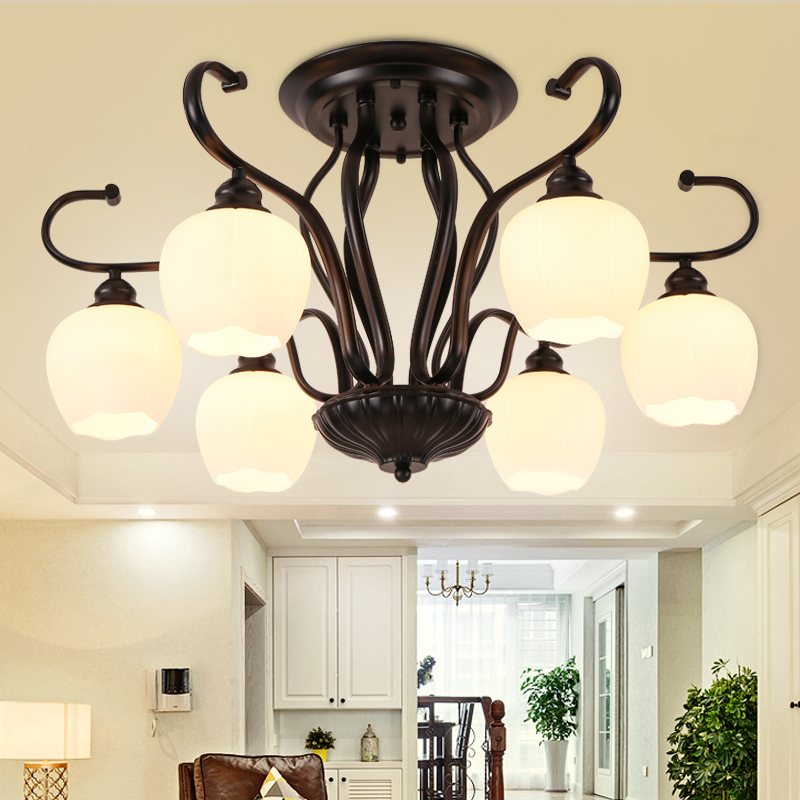 LED with glassLampshades E27 Chandeliers For Living Room Romantic