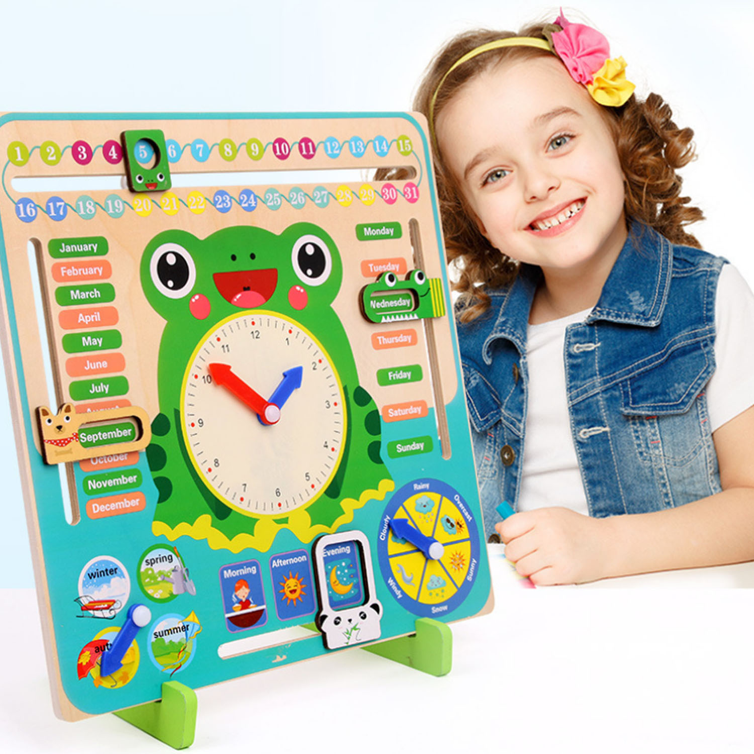 Kids Educational Frog Clock Wooden Toy Time Number Week Months Year Season Weather Puzzle Posters Clock For Preschool Toddlers