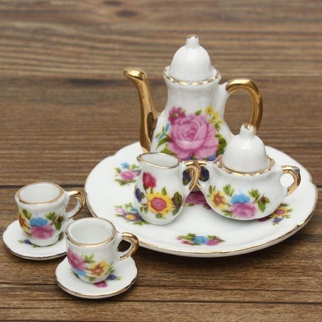 Vintage 8 unids/set miniaturas juego de té de porcelana tetera ...