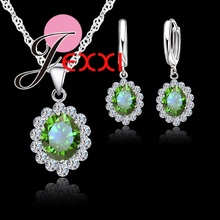Vintage Beautiful Flower Pattern Jewelry Crystal Set Pendant Necklace+Drop Earrings+Silver Chains For Womens Gift
