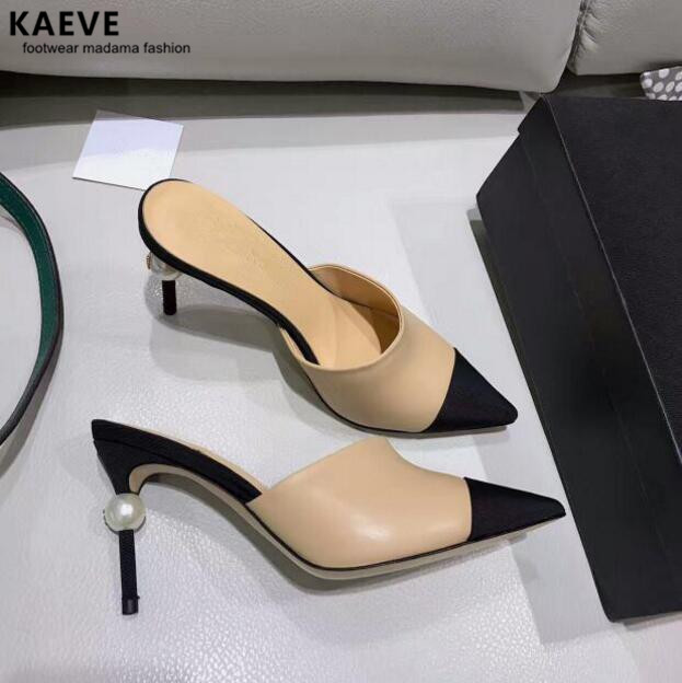 Kaeve 2019 nude pumps Shoes Pear Mules Sexy Pointed Toe high heels sandals women Sling back Sandals Runway Mixcolors size 34-40