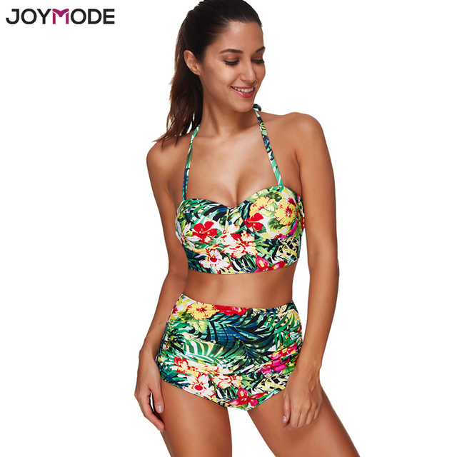 18cee27ad7 JOYMODE Swimwear High Waist Underwire Floral Jungle Print Women Bikini Set  Halter Neck Padded Push Up Bathing Suit Two Piece 3XL