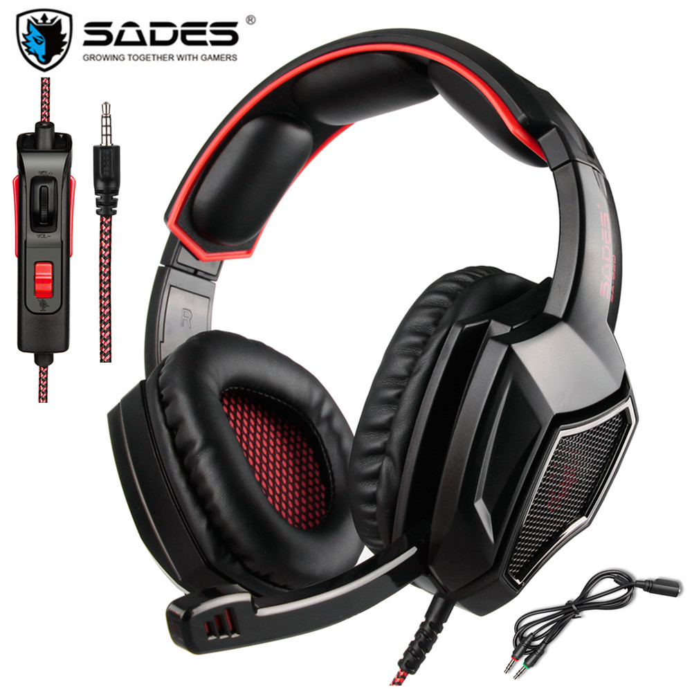 SADES SA920 Plus PS4 Gaming Headset Gamer Bass Headphones with Mic for Xbox one Switch PC Phone PUBG Game headset Stereo Casque onikuma k2a gaming headset ps4 wired stereo game headphones casque gamer headset with mic for computer laptop phone led lights