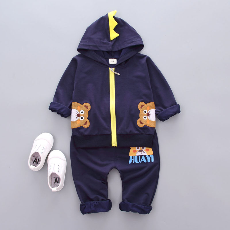 2017 Autumn spring Baby boys Clothes Cartoon bear Hoodie Tops T-shirt+Cotton Pants Suit Newborn Baby Girls Clothing Sets