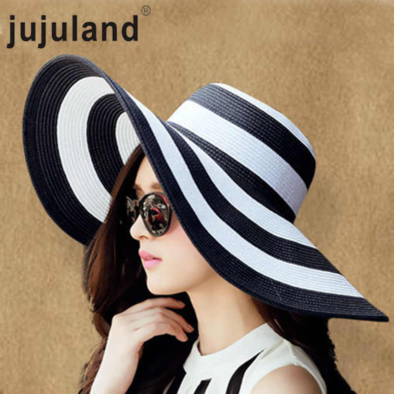 f1f47913160adf Detail Feedback Questions about jujuland 2018 New Summer Female Sun Hats  Visor Hat Big Brim Black White Striped Straw Hat Casual Outdoor Beach Caps  For ...
