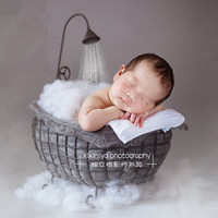 Baby Photo Studio Posing Photography Props Infantile Shoot Pod Iron Basket Shower Sitter Bathtub Newborn Photography Accessories