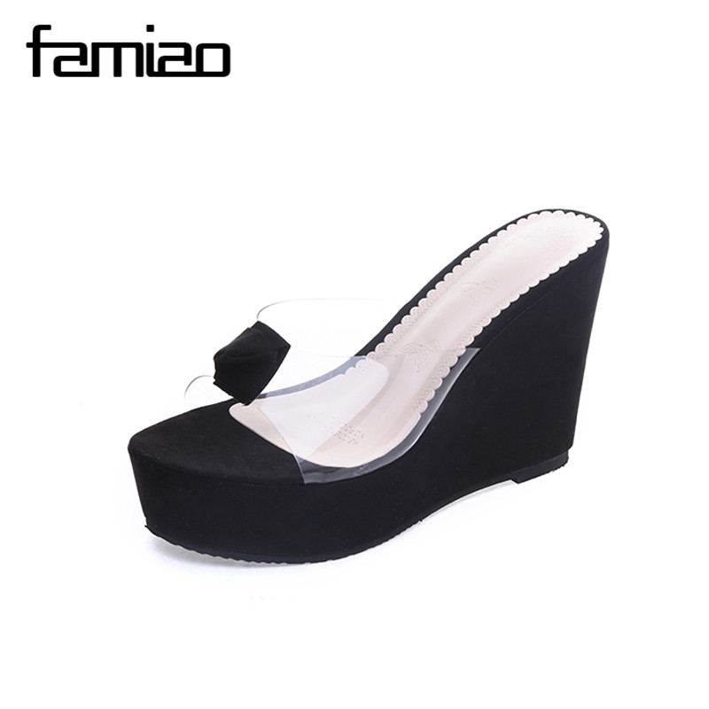 FAMIAO Women Gladiator Sandals Ladies Party Wedding Dress Thick Shoes High Heels Shoes Woman Clear Transparent Wedges Slipper new women gladiator sandals ladies pumps high heels shoes woman clear transparent t strap party wedding dress thick crystal heel