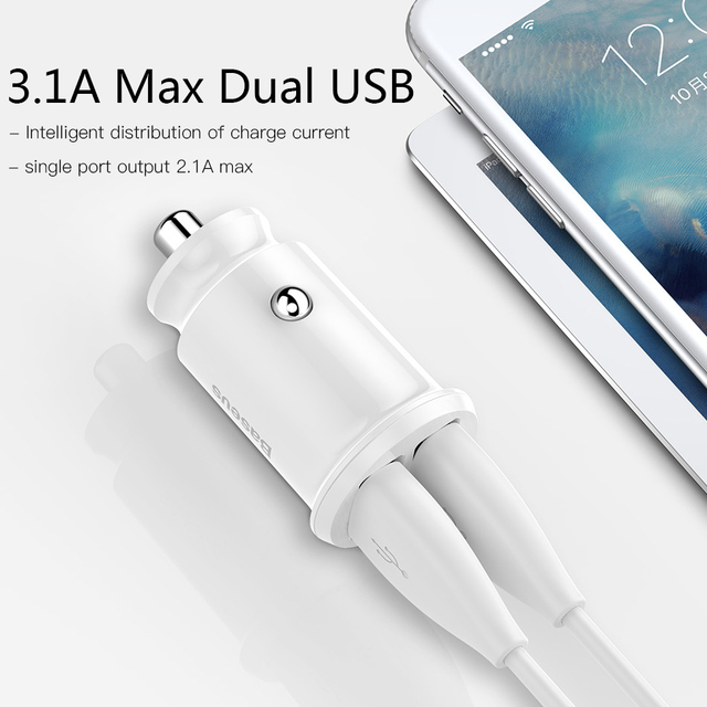 Baseus Mini USB Car Charger For Mobile Phone Tablet GPS 3.1A Fast Charger Car-Charger Dual USB Car Phone Charger Adapter in Car 4