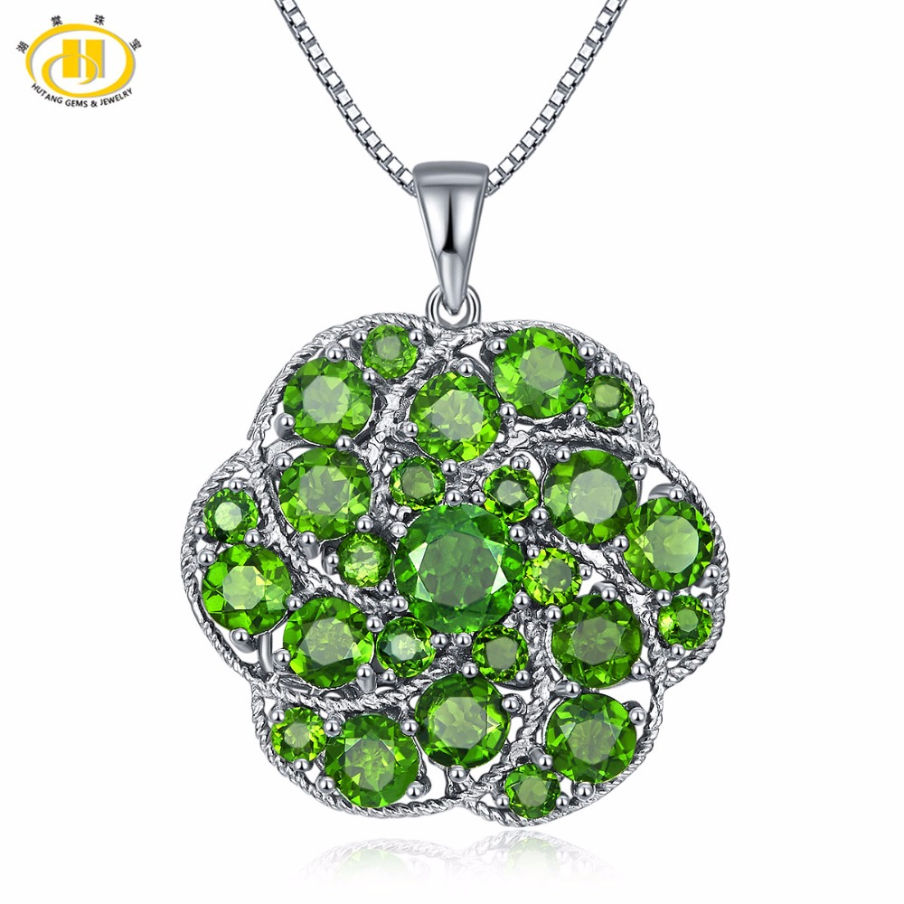 Hutang Solid 925 Sterling Silver 8.71ct Natural Gemstone Chrome Diopside Pendant & Necklace Fine Jewelry For Women deoproce aloe vera oasis day cream крем дневной для лица с алоэ вера 50 г