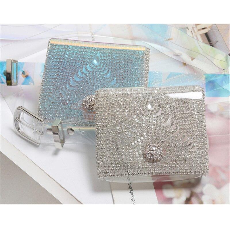 Mihaivina Fashion Beach Fanny Pack Rhinestone Waist Bag Women Mini Purse Transparent Jelly Waterproof Belt Bag Handbag heuptas in Waist Packs from Luggage Bags