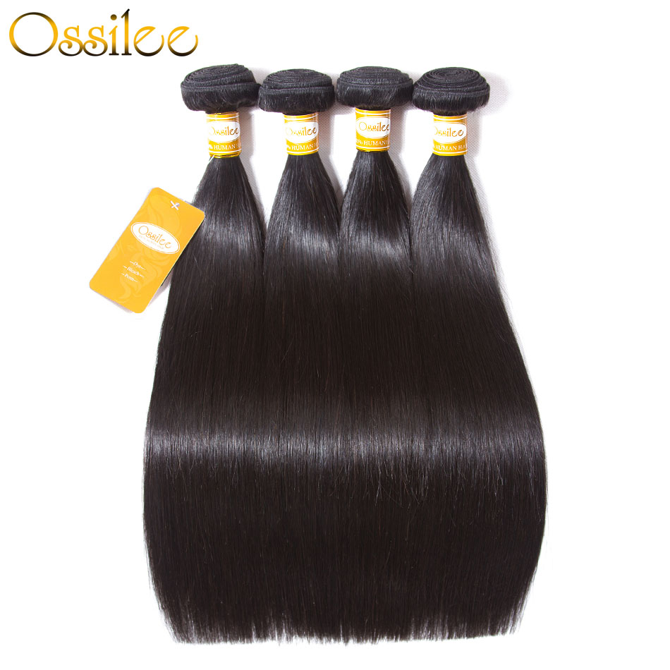 Ossilee Straight Hair Bundles Brazilian Hair Extentions Machine Double Weft 100% Remy Hu ...