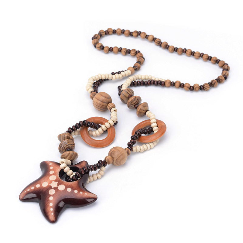 Vintage Bohemian National Wind Ocean Starfish Woody Beaded pendant necklace Women Fashion Jewelry Birthday Present Colar collier