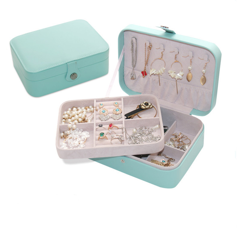 Mini Portable Jewelry Box Travel Jewelry Storage Container 4 Colors Elegant Casket Double deck Jewelry Storage Box Organizer