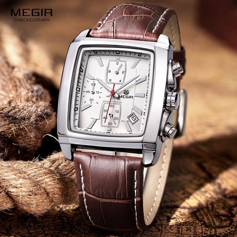 Megir mode casual militaire chronograaf quartz horloge mannen luxe waterdichte analoge lederen polshorloge man gratis verzending 2028