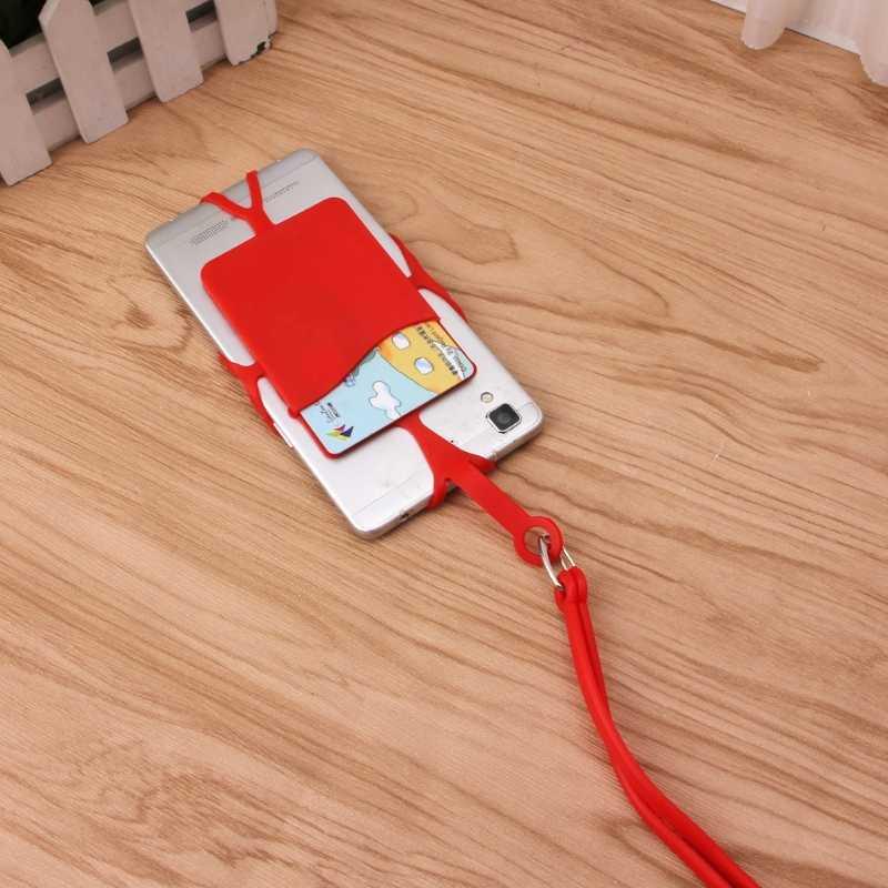 Zdejmowana silikonowa smycz uchwyt na telefon komórkowy smycz na szyje z gniazdem na karty identyfikacyjne
