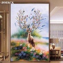 Zozack point de croix broderie Kits 11CT cerf et fleur imprimé motif coton fil de soie broderies DMC nouvel an décor à la maison