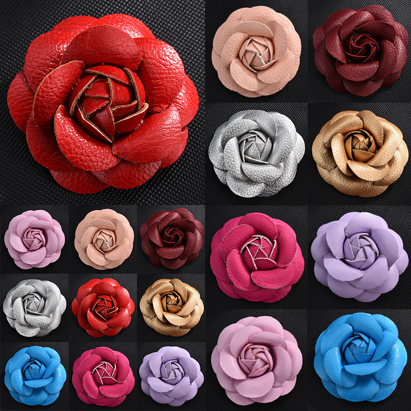 New Korean Handmade PU Leather Camellia Flower Brooch Boutonniere Lapel Pin Jewelry Brooches Corsage Gifts For Women Accessories