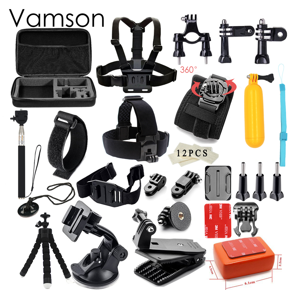Gopro Accessories Set Kit Monopod Mount Strap For Hero 5 Acc Remote 20 4 3 Xiaomi Yi Sj4000 Sj5000 Sj600 Sj700 Action Camera Vs76 In Video Bags From