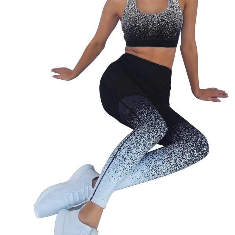 c6487cb2caae ... Sexy Sports Suit Women Gradient Fitness Yoga Set Tracksuit Gym Jogging  Sportswear Running Top&Leggings Sport Fitness ...
