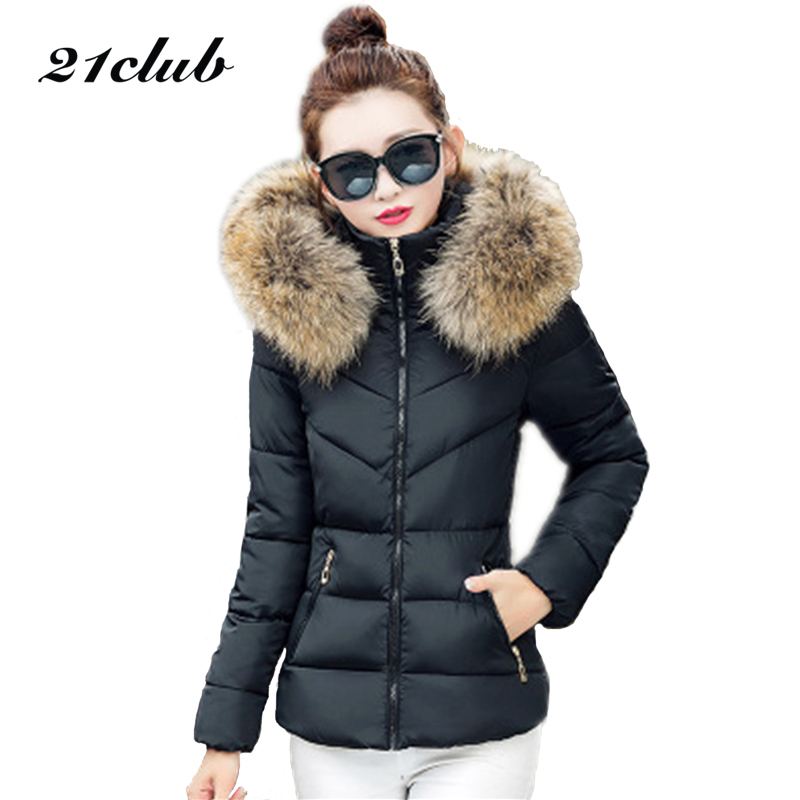 21Club 2017 Winter Women Down Cotton Jacket Fashion Thick Section Hooded Fur collar Coat Solid Slim Plus Size Bow Hem Tops winter feather cotton women outwear long section thick section slim hooded coats large fur collar large size down jacket lx165