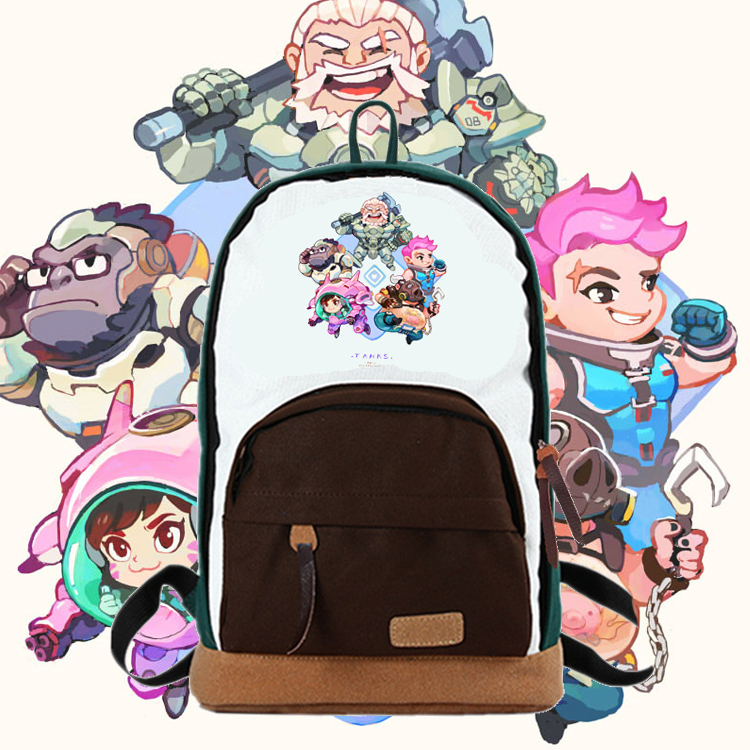 Kawaii Japanese Korean style lovely OW heroes character Mercy/DVA/Zarya/REINHARDT/REAPER printing backpacks cute backpack all characters tracer reaper widowmaker action figure ow game keychain pendant key accessories ltx1