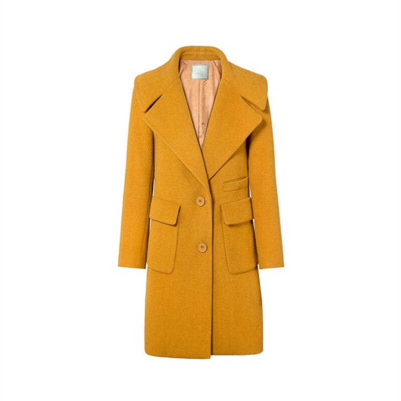 Confortable Manteau Unique cou Zx1196 Mode Laine Concise Hiver Mince Colour De Tweed Femmes Automne V Poitrine Femelle Style Caramel Poches Nouveau 4x6XUqnS8