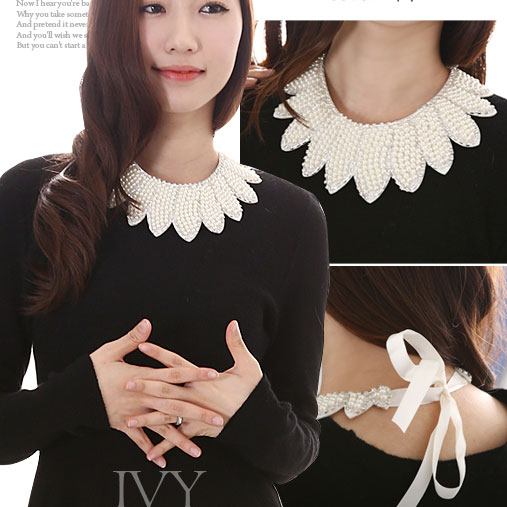 False Collar Pearl Peter Pan Collar Diamond Lacing Fabric Shirt