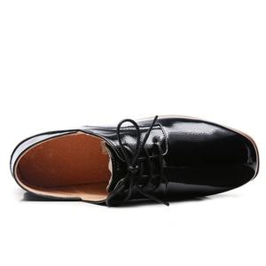 Image 5 - O16U Women Derby Shoes Dress PU Lace up Square Toe Oxfords Shoes Flat Women Black Casual Shoes Office Ballet Flats Women Shoe