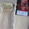 """5 unids nueva moda 20 """" colorido color mujeres de Remy pelo humano recto clip en extensiones de cabello 5 g/Pcs Platinum Blonde #60"""