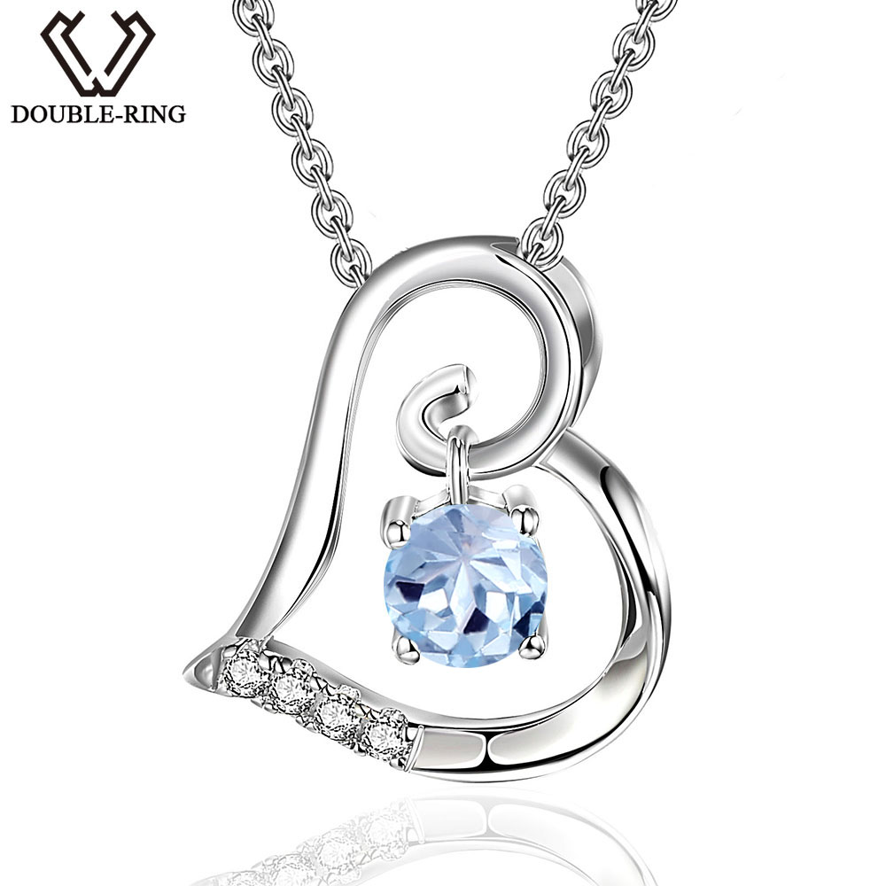 DOUBLE R Genuine Natural Blue Topaz Pendants Real 925 Sterling Silver Heart Pendant necklaces Gemstone Fine