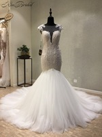 Gorgeous Sheer Back Wedding Dress Mermaid Style Lace Tulle Bride Wedding Gown Sleeveless Vestido De Noiva