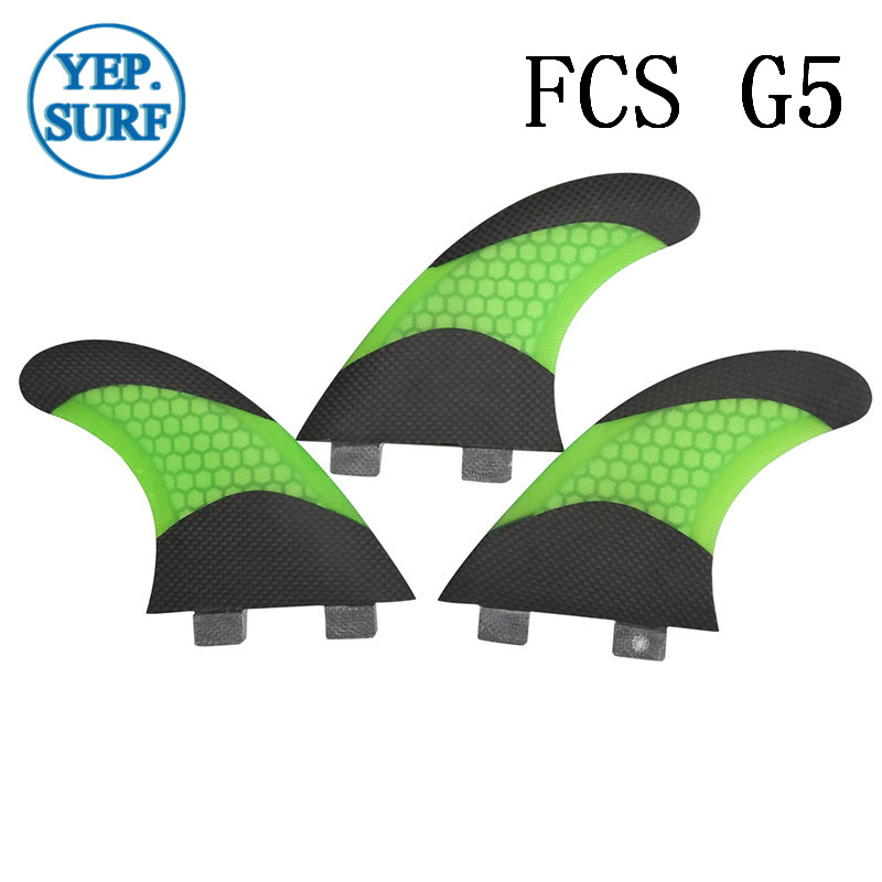 yellow fcs SUP FCS Fins G5 Surfboard Fin Bicolor Honeycomb Black Fin Carbon Fiber G5 Quilhas Fin prancha de in Surfing from Sports Entertainment