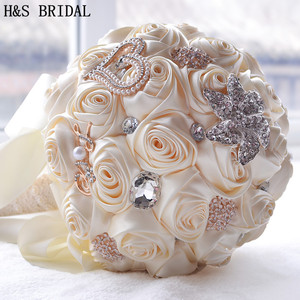 Image 2 - 8 สี Gorgeous ดอกไม้งานแต่งงานเจ้าสาวประดิษฐ์ Wedding Bouquet คริสตัลประกายไข่มุก 2020 Buque de noiva