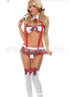 Sexy Erotic Costume School Girl Plaid Uniform Bow Tie+Bra+Suspender Skirt Uniform Of the Student Play Role ropa erotica YF025