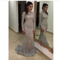 Fashion Full Sleeved Sexy Silver Glittered Party Dresses Hollow Out Maxi Dress Celebrity Floor Length Evening