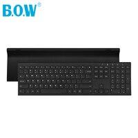 B.O.W Slim Matte Metal feel 2.4Ghz Wireless keyboard(110 / 99keys), Compact Rechargeable Thin keyboard for Desktop Pc,Laptop