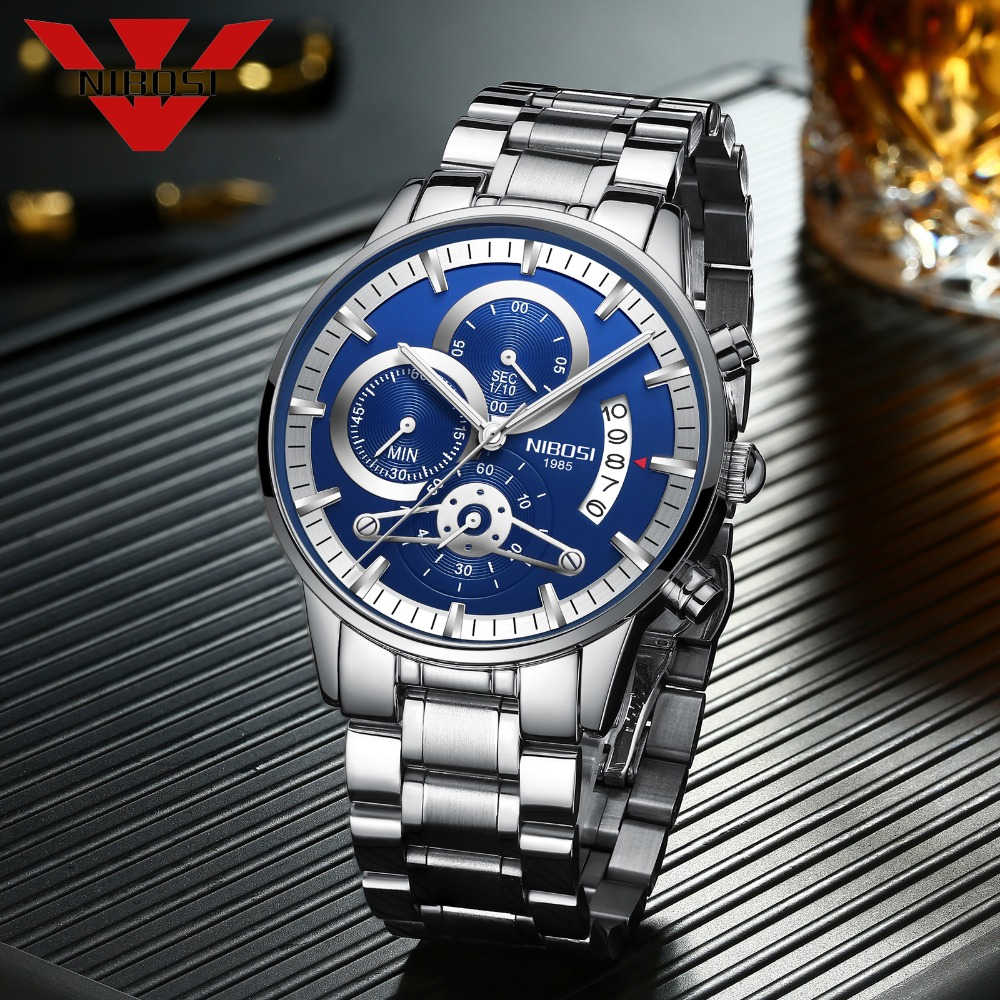 NIBOSI Men Watch Top Brand Luxury Quartz Wristwatches Hot Selling Men Watches Relogio Masculino Stainless Steel Watch for man 2016 hot sale top brand ailang luxury men watches casual fashion waterproof stainless steel wristwatches mechanical watch