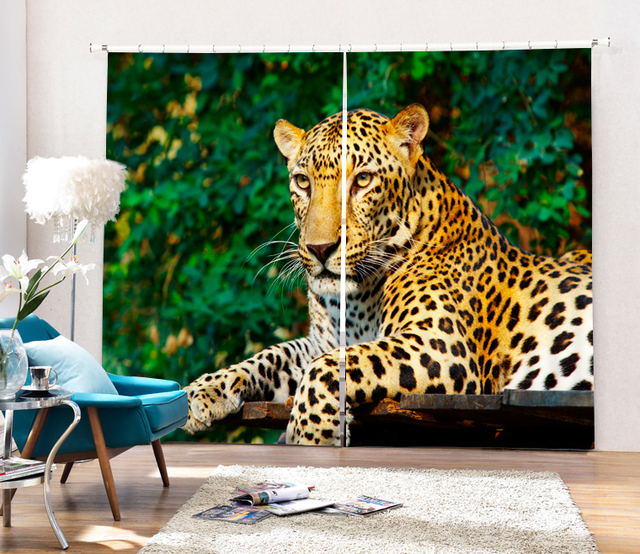 Animals Leopard Tigers 3D Blackout Curtains For Living Room Bedding Decor Tapestry Wall Carpet Drapes