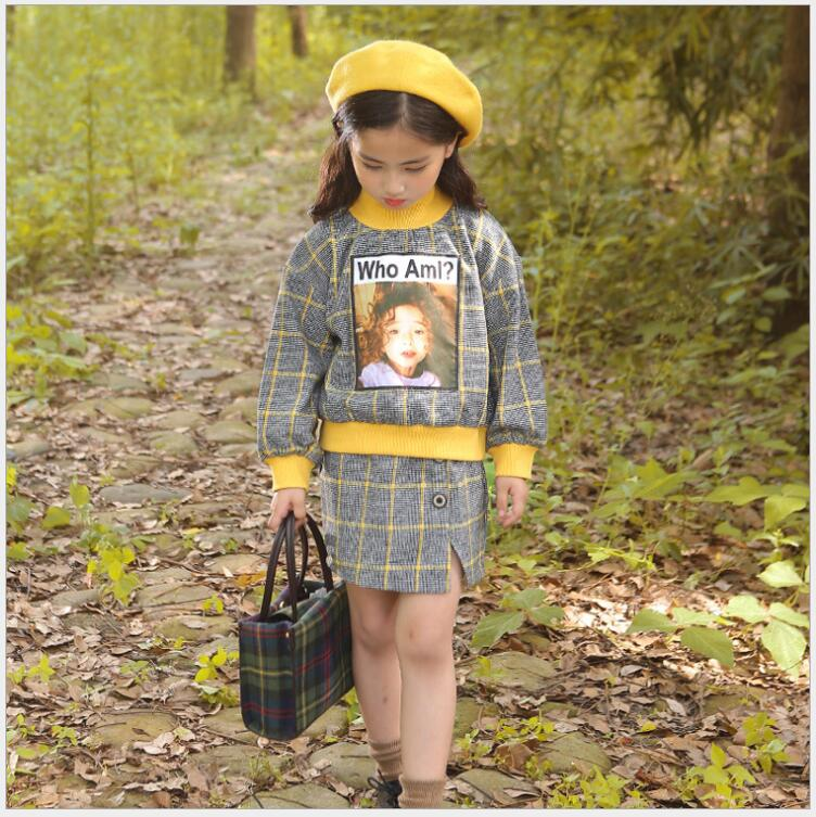 2018 autumn children plaid top and side open button skirt 2pcs street outfit clothing little girls classic fall winter clothes dabuwawa 2017 vintage plaid vest skirt natural waisted elegant pencil button skirt autumn winter jumper skirt d17ddx018