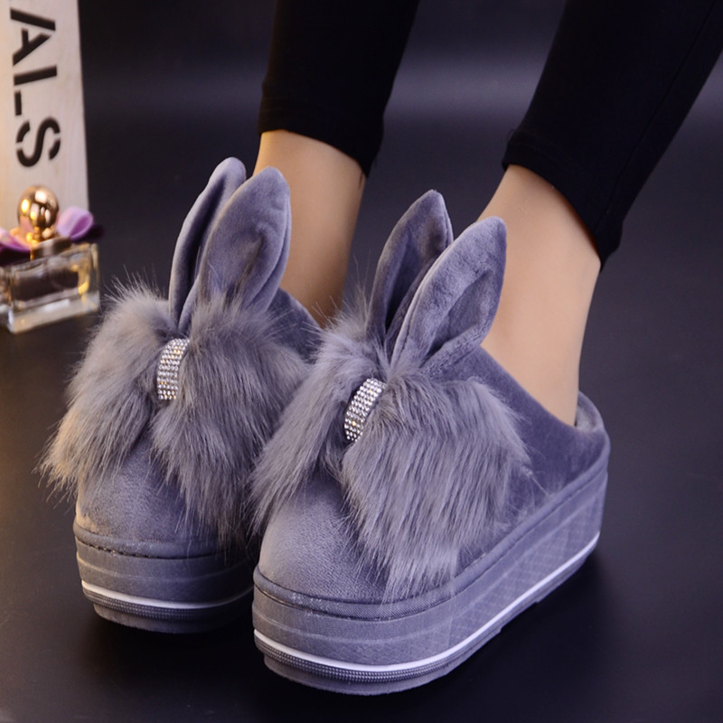 competitive price f95ac 36440 US $18.2 |platform slippers fur slides rabbit ear fluffy shoes 2018 cute  slipers furry dames ladies fuzzy gg plush schoenen fenty beauty -in  Slippers ...