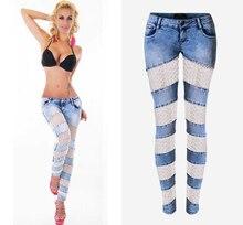 Женщины Новая Мода 2016 Сплошной Цвет Кружева Выдалбливают Лоскутное Джинсы Низкой Талией Вскользь Длинные Джинсовые Длинные Брюки Плюс размер XS ~ XXL