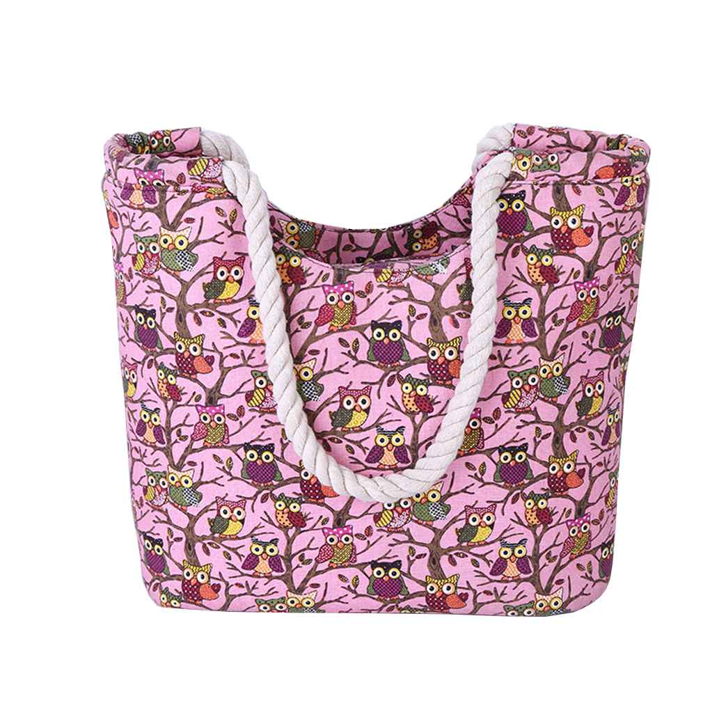FangNymph 2018 New Design Women Cartoon Cute Owls Print Handbags Female Large Capacity Portable Shopping Tote Girls Shoulder Bag