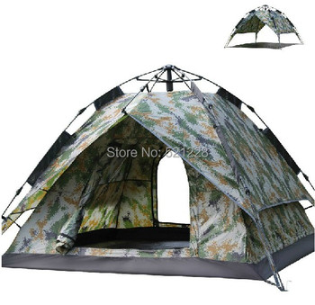 2016 hot sale outdoor camping 3-4 persons camouflage fully-automatic carbon fiber double layer tent on sale in top quality